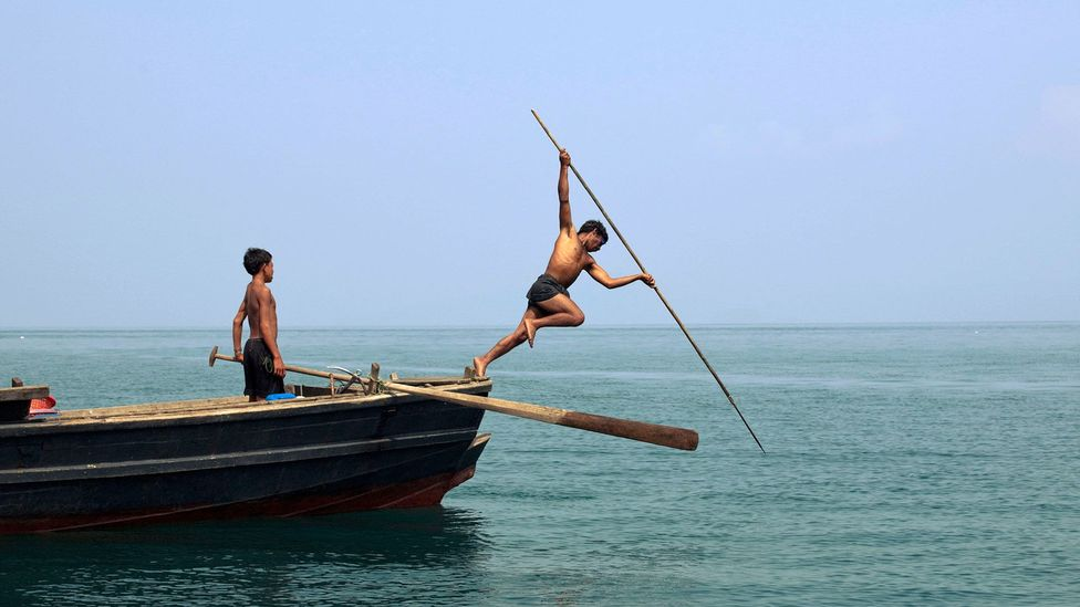 The adults in the tribe catch most of their food by spear fishing above the surface (Credit: Alamy)