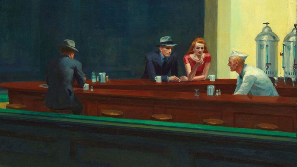 """Joyce Carol Oates once described Nighthawks as """"our most poignant, ceaselessly replicated romantic image of American loneliness"""" (Credit: Nighthawks - detail (1942)/Edward Hopper)"""