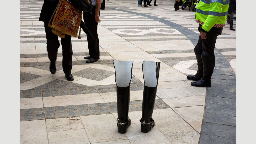 Empty boots at the Silent Ceremony – which installs the new Lord Mayor – in 2014 (Credit: Martin Parr/Magnum Photos)