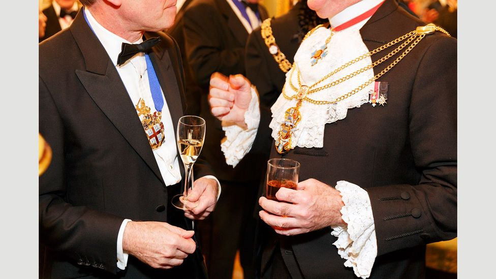 The guilds have formal dinners for their members, like this Drapers' Livery Dinner at Drapers' Hall, 2014 (Credit: Martin Parr/Magnum Photos)