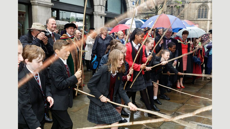 Beating the Bounds, a medieval custom carried on today by students in City schools at Ascension Day, in 2014 (Credit: Martin Parr/Magnum Photos)