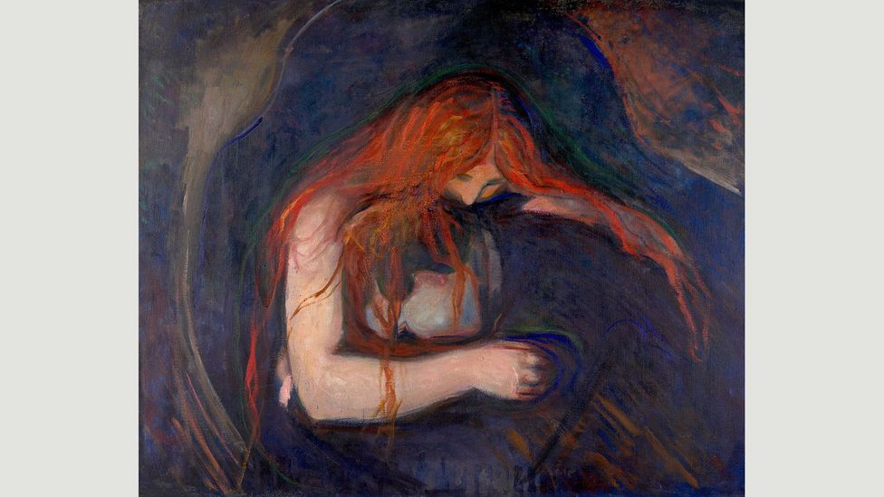 It was in Germany that Munch created the major paintings which remain his best-known works, including The Vampire and Madonna (Credit: Vampire 1895/Edvard Munch)