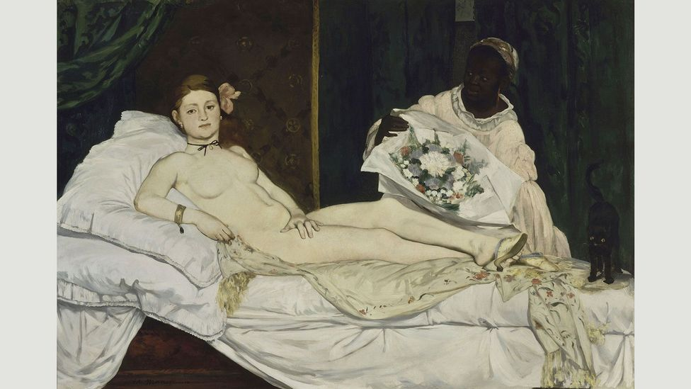 The titular prostitute in Manet's Olympia covers her genitals – but the flower in her hair and the bouquet on the left stand in for what she covers (Credit: Édouard Manet)