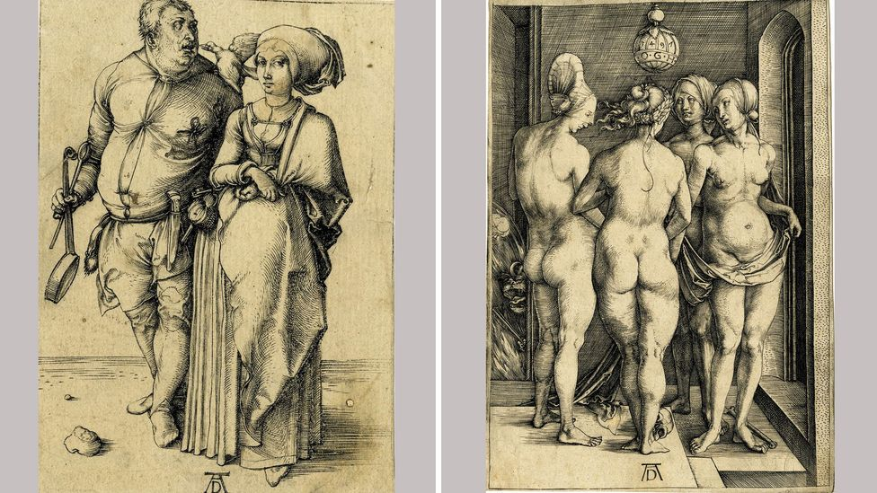 Dürer's 1496 engraving A cook and his wife, left, and 1497 engraving The four witches, right, both in the British Museum collection (Credit: The Trustees of the British Museum)