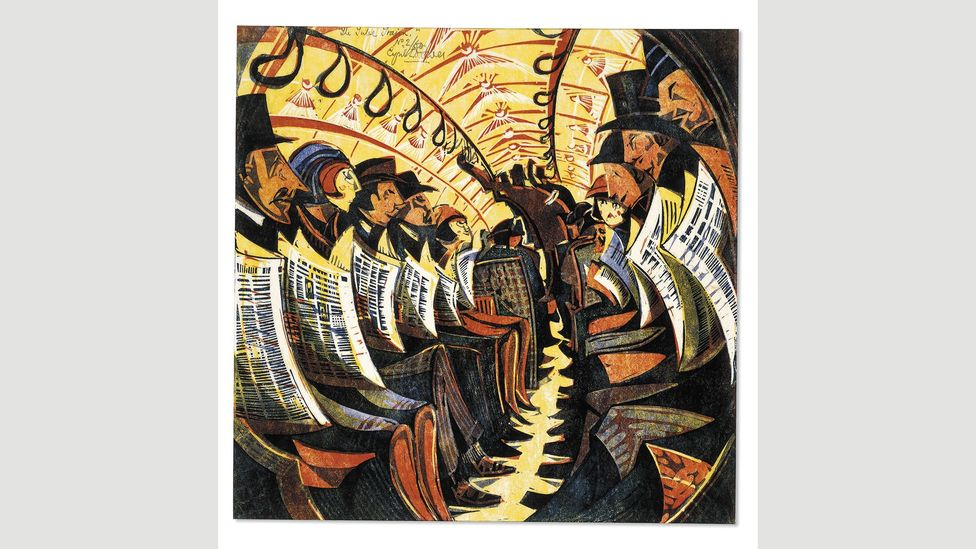 Cyril Power's 1934 linocut The Tube Train (Credit: The Trustees of the British Museum)