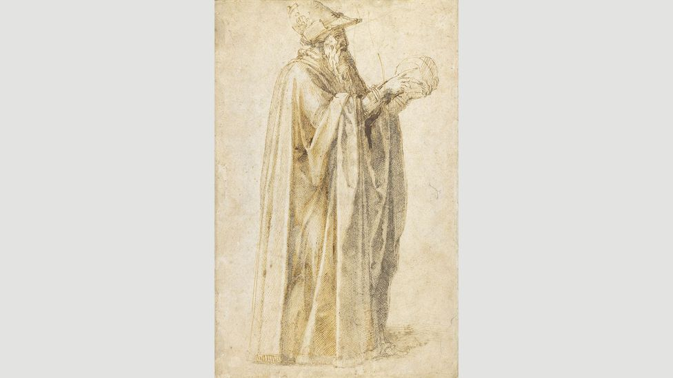 Michelangelo's drawing of a philosopher, holding an unknown object (Credit: The Trustees of the British Museum)