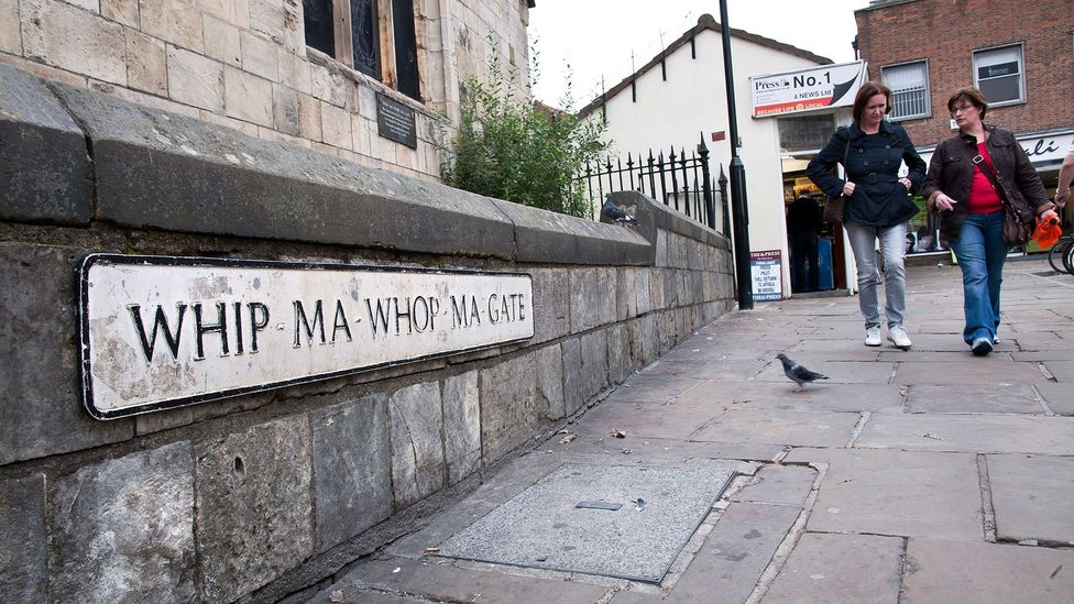 As well as oddly-named towns, Britain has streets like York's Whip-Ma-Whop-Ma-Gate, which may come from Norse for 'Neither one thing nor the other' (Credit: Paul Rushton/Alamy)