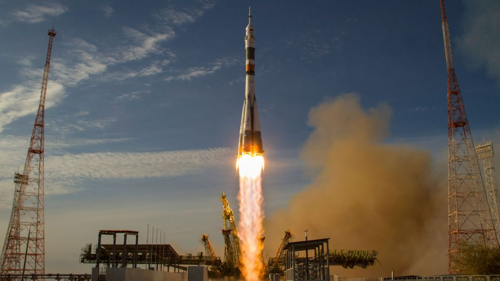 The Soyuz rocket launching from Baikonur, Kazakhstan (Credit: Getty Images)