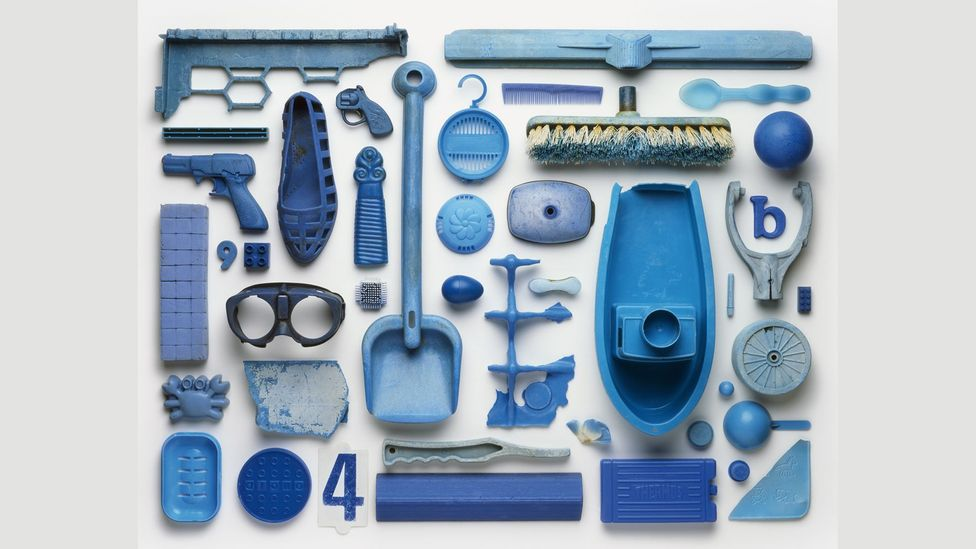 Collection: Blue includes a toy gun, sandal, Thermos and broom (Credit: Stuart Haygarth/Art Books Publishing Ltd)