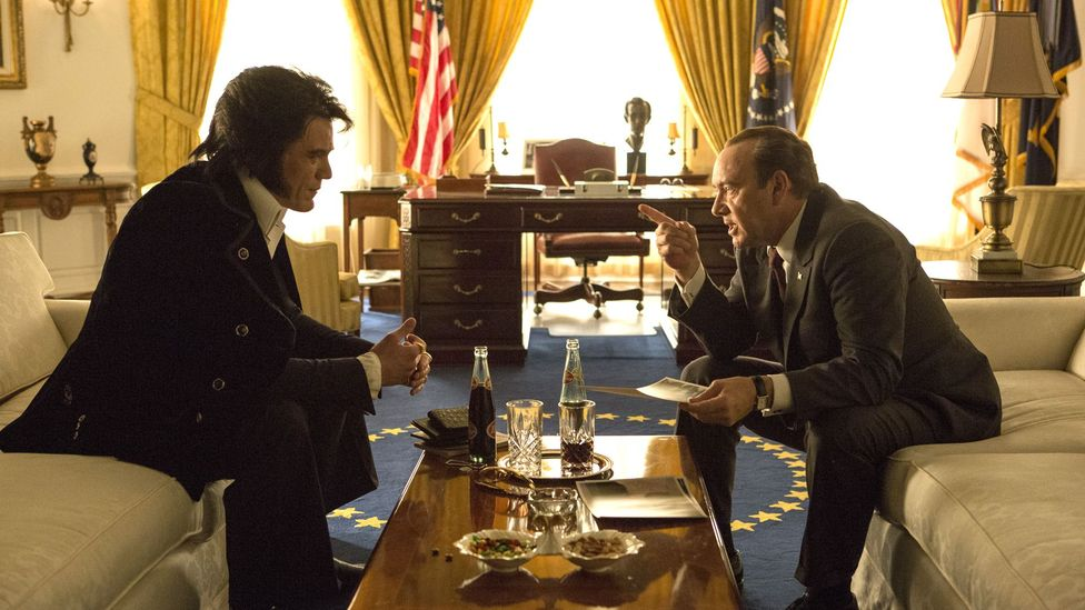 A satirical film that stars Michael Shannon as Elvis and Kevin Spacey as Nixon is released in April (Credit: Amazon Studios)