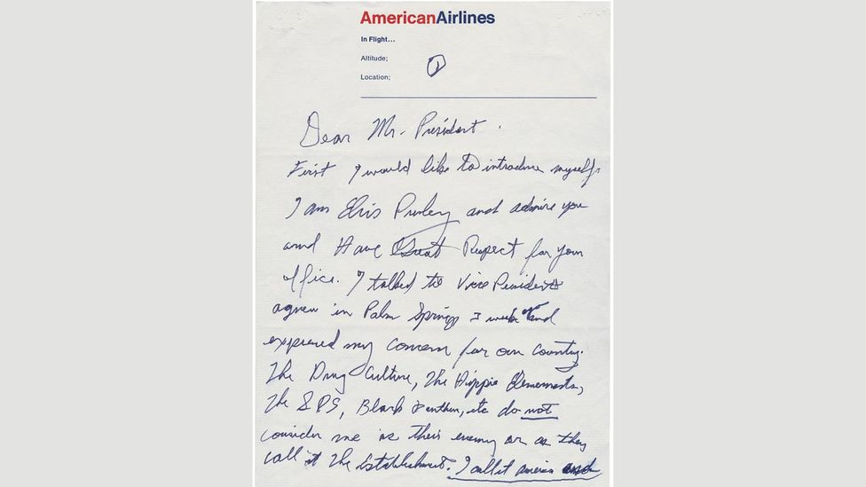 """Elvis's handwritten letter to the president offered """"any service I can to help the country out"""" (Credit: The National Archives and Records Administration)"""