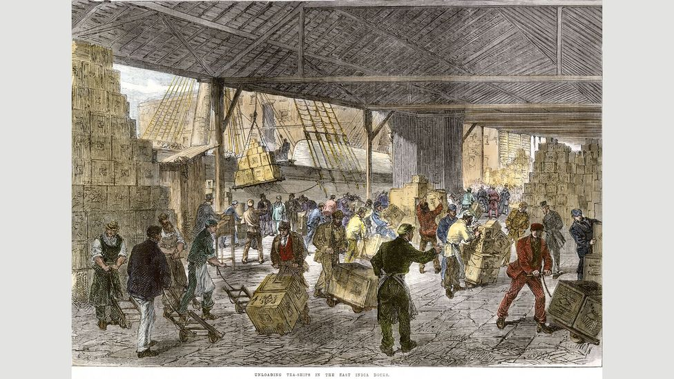 Workers unload tea ships in London's East India Company docks in the mid-19th Century (Credit: North Wind Picture Archives/Alamy)