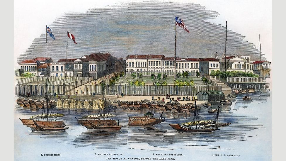 The trading establishments of Denmark and the East India Company, along with the British and US consulates, at Canton, China, in 1844 (Credit: Granger, NYC./Alamy)