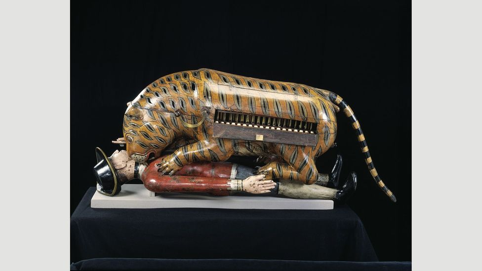 The 1793 pipe organ known as Tippoo's Tiger once was at the Company headquarters; today, it is at the V&A Museum in London (Credit: Victoria and Albert Museum, London)