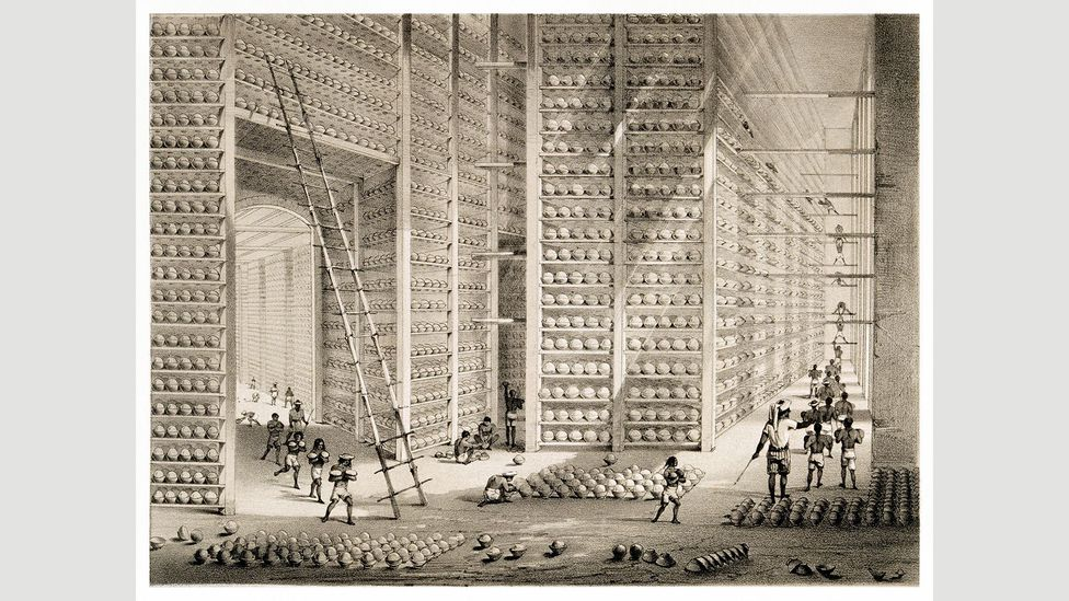 Company buildings abroad were also impressive: this 1851 sketch shows stacks of opium balls at the Company's opium factory at Patna, India (Credit: Contraband Collection/Alamy)