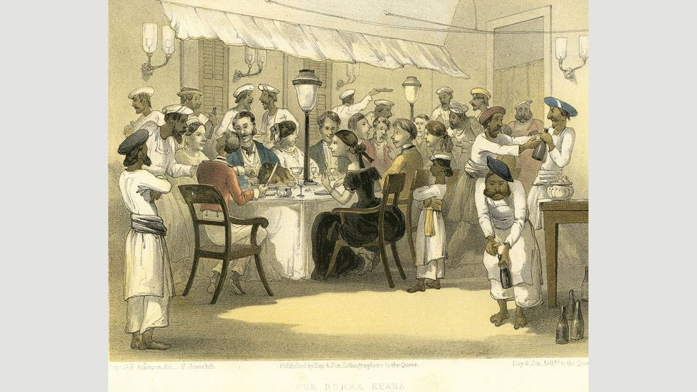 'Our burra khana', an image of British colonists dining in India (Credit: Dinodia Photos/Alamy)