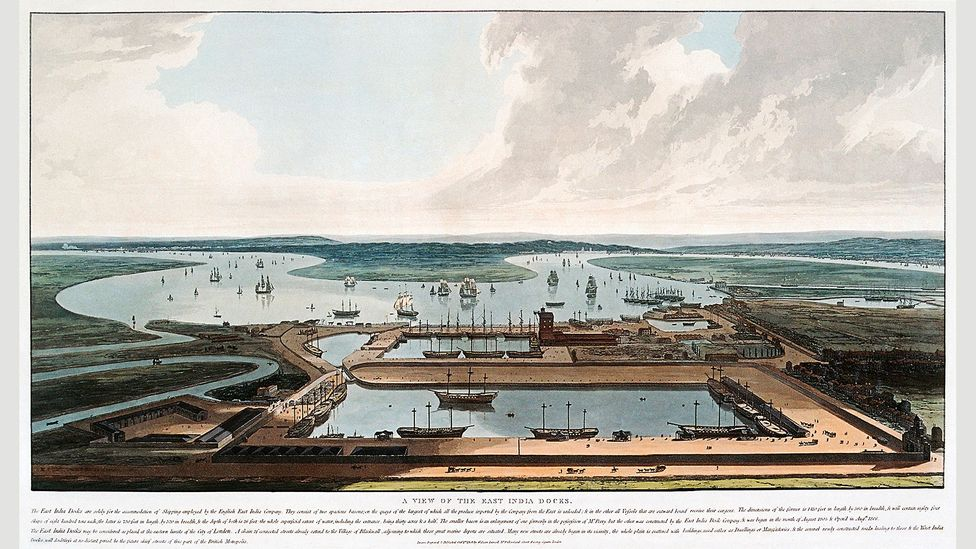 An 1808 watercolour of the East India Docks in London, which opened in (Credit: Lordprice Collection/Alamy)