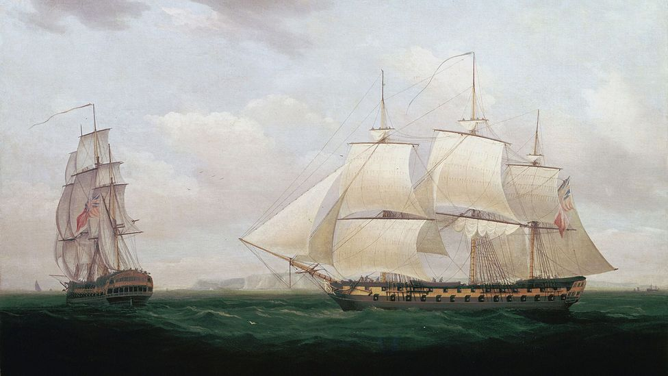 'Two East Indiamen off a Coast' by Thomas Whitcombe, 1850 (Credit: World History Archive/Alamy)