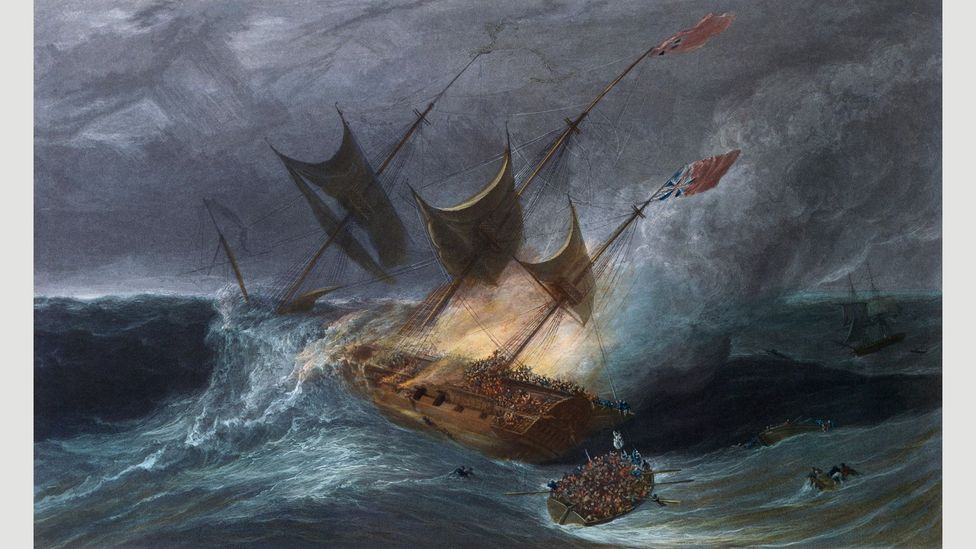 Fire destroyed the ship Kent in the Bay of Biscay in 1825 on its voyage to Bengal and China (Credit: William Daniell/Lebrecht Music and Arts Photo Library/Alamy)