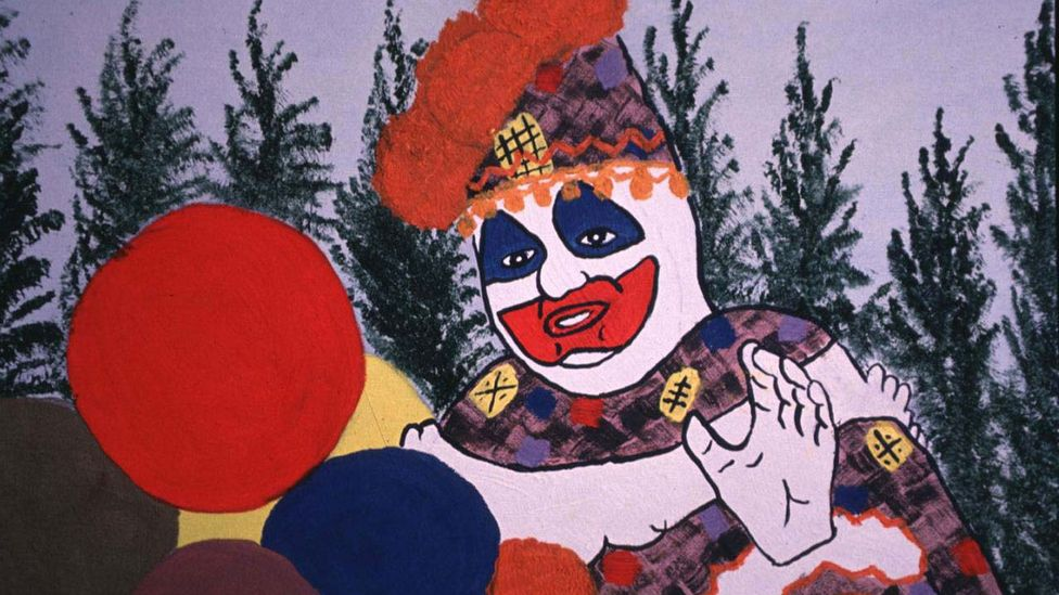 """A self-portrait by the serial murderer and rapist John Wayne Gacy, who used to dress up as """"Pogo the Clown"""" in his job as a children's entertainer (Credit: Getty Images)"""