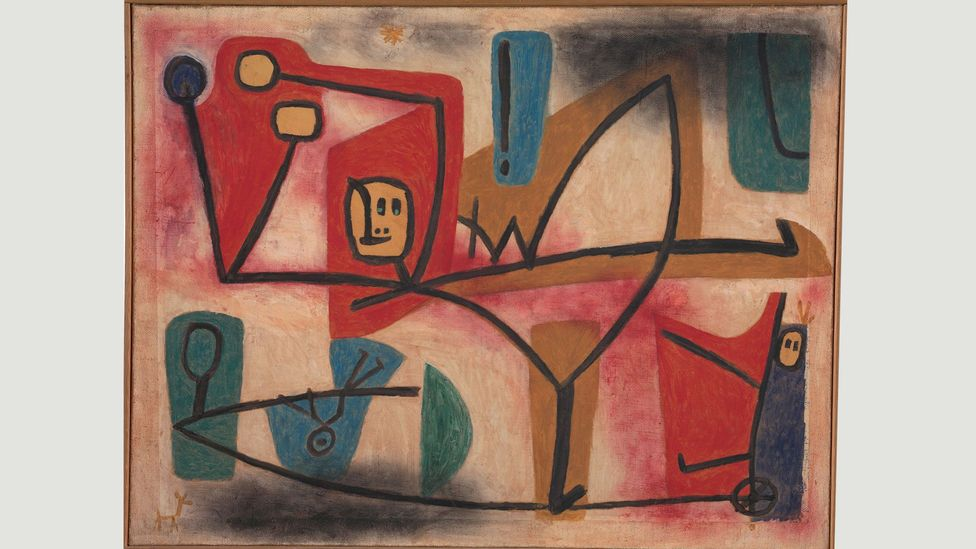Paul Klee's 1939 painting Arrogance features a teetering tightrope walker who strives vainly for balance – a recurring concern in the artist's work (Credit: Zentrum Paul Klee)
