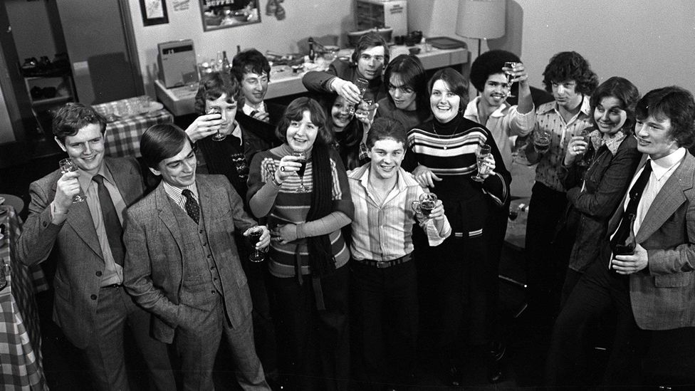 The children from Michael Apted's 7 Up. Lynn can be seen with the long hair in the middle of the picture; Nick is to the far right (Credit: BBC)
