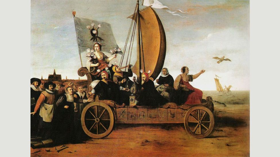 In Flora's Wagon of Fools by Hendrik Gerritsz Pot, the goddess of flowers leads the weavers of Haarlem toward the rough seas that will destroy them (Credit: Hendrik Gerritsz Pot)