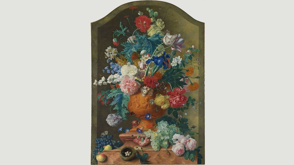 Jan van Huysum's Flowers in a Terracotta Vase dates from around 100 years after the end of tulip mania (Credit: Jan van Huysum)