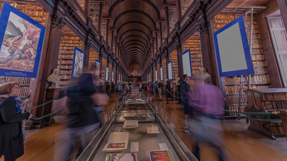 The library at Trinity College, Dublin displays a different page from The Book of Kells each day (Credit: Alamy)