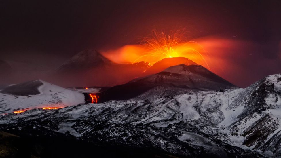 Volcanoes, spewing sulphurous material into the atmosphere, can have a cooling effect (Credit: Getty Images)