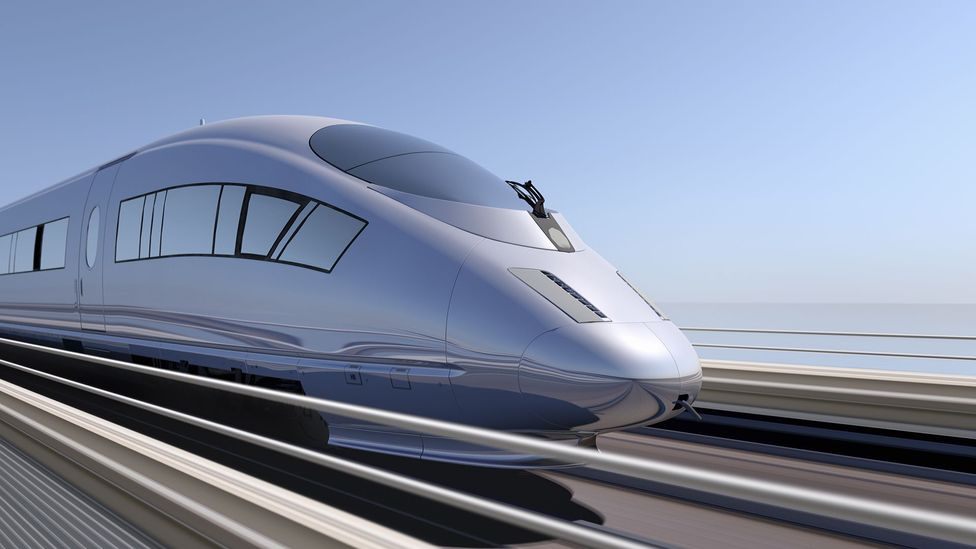 The proposed electromagnetic gun would use technology similar to that on maglev trains (Credit: Getty Images)