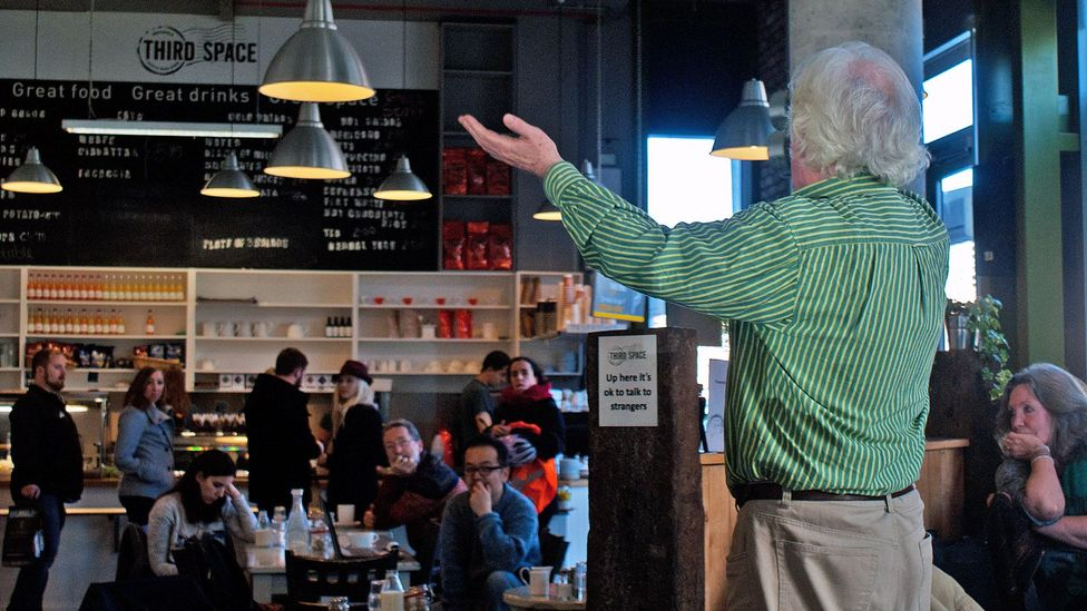 Jack Lynch addresses a crowd at Third Space café (Credit: Rory Boland)