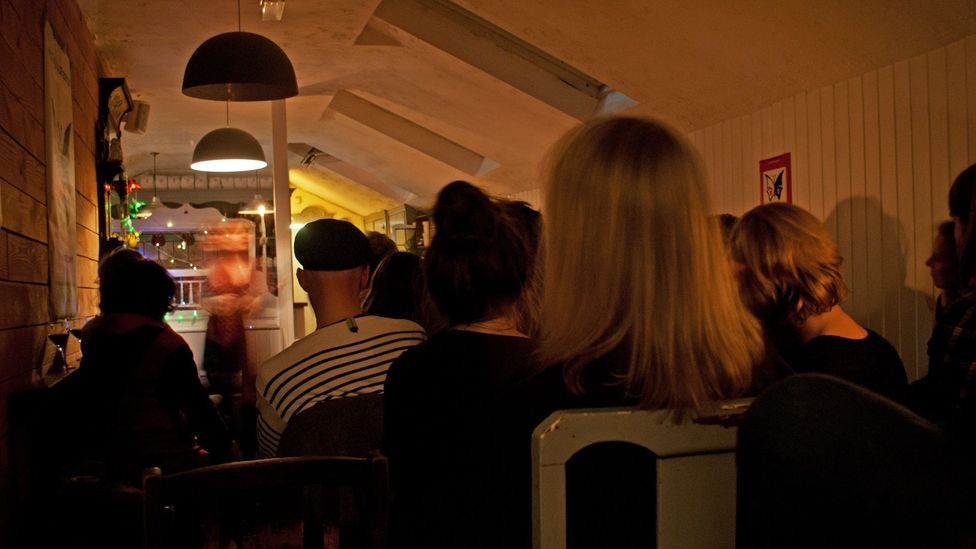 An eclectic crowd gathers to hear storytellers at Moth and Butterfly (Credit: Rory Boland)