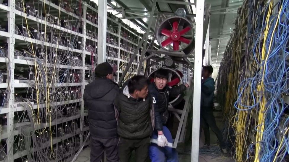Hundreds of computers shelved on rows churn out about 50 bitcoins per day (Credit: Danny Vincent)
