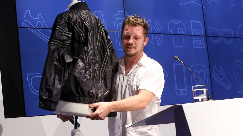 Gabriel Platt carries a Distance Control sexual assault jacket with built-in electrical shock for oncoming perpetrators. (Credit: Getty Images)