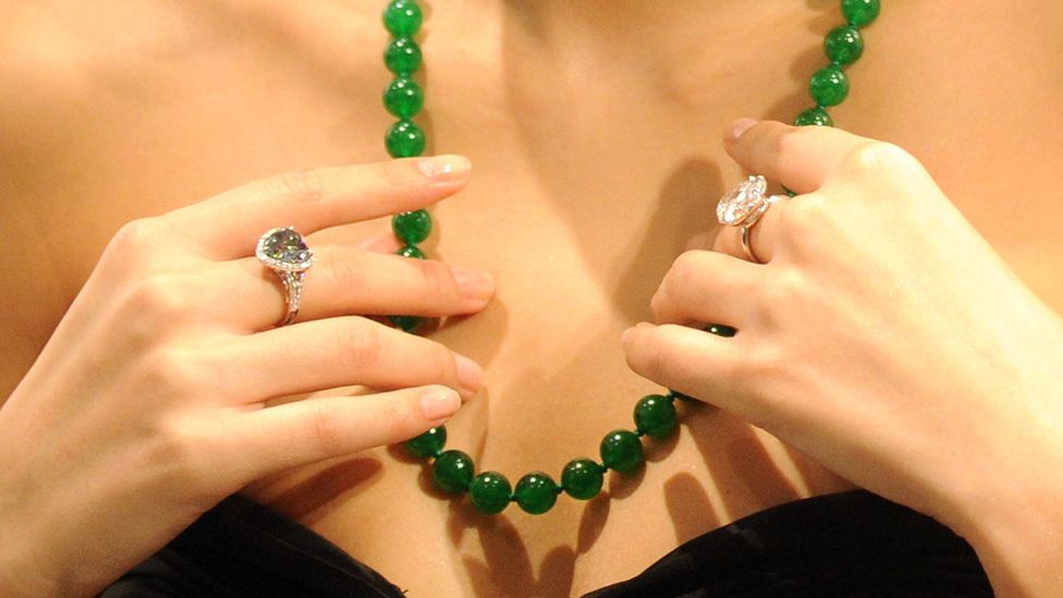 Jade jewellery can be incredibly valuable. This jadeite bead necklace sold for more than $7m in Hong Kong in 2010 (Credit: Getty Images)