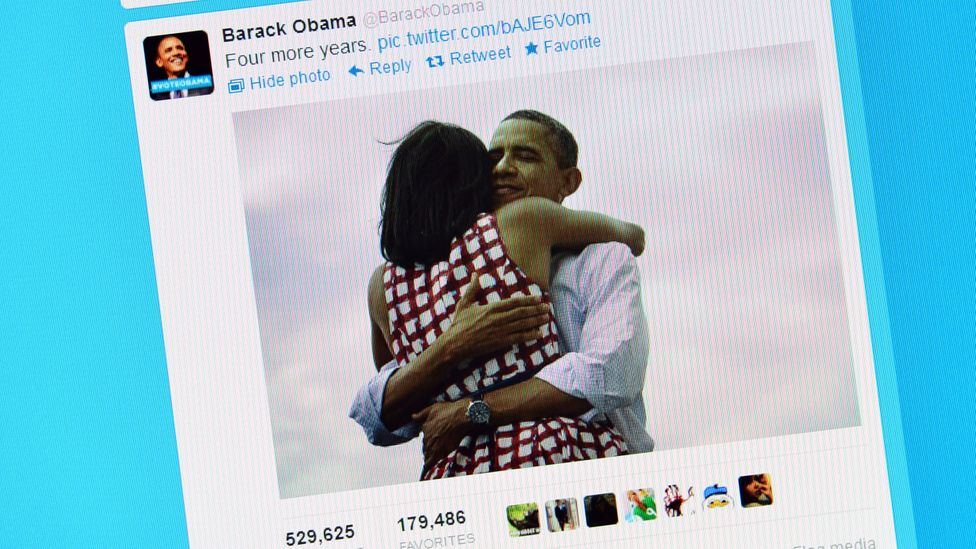 This post was Obama's most retweeted, with 472,000 shares in three hours (Credit: Getty Images)