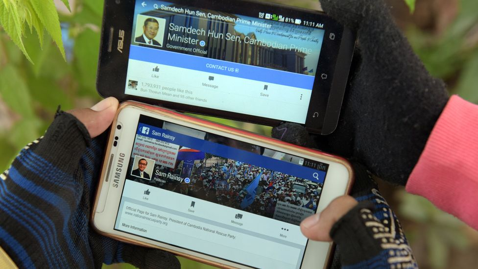 Facebook pages for Cambodian Prime Minister Hun Sen and opposition leader Sam Rainsy (Credit: Getty Images)