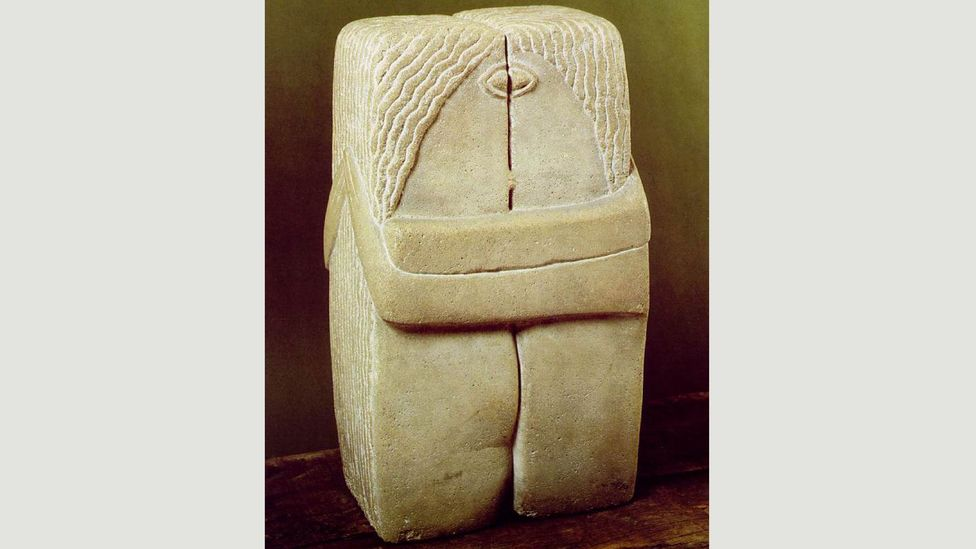 Rather than sharing the warmth of the Honecker/Brezhnev embrace, the new mural is closer to the unblinking clinch of The Kiss by Constantin Brancusi (Credit: Wikimedia Commons)