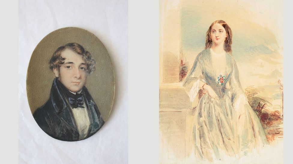 At left, a miniature of Charles Dickens that he gave Catherine Hogarth on their engagement; right, a watercolour of Catherine by Daniel Maclise (Credit: Charles Dickens Museum)