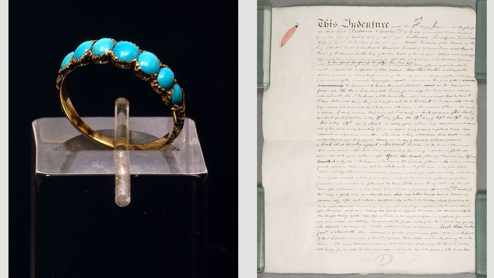 The engagement ring that Charles gave Catherine in 1835, left, and the couple's draft deed of separation in 1858, right (Credit: Charles Dickens Museum)