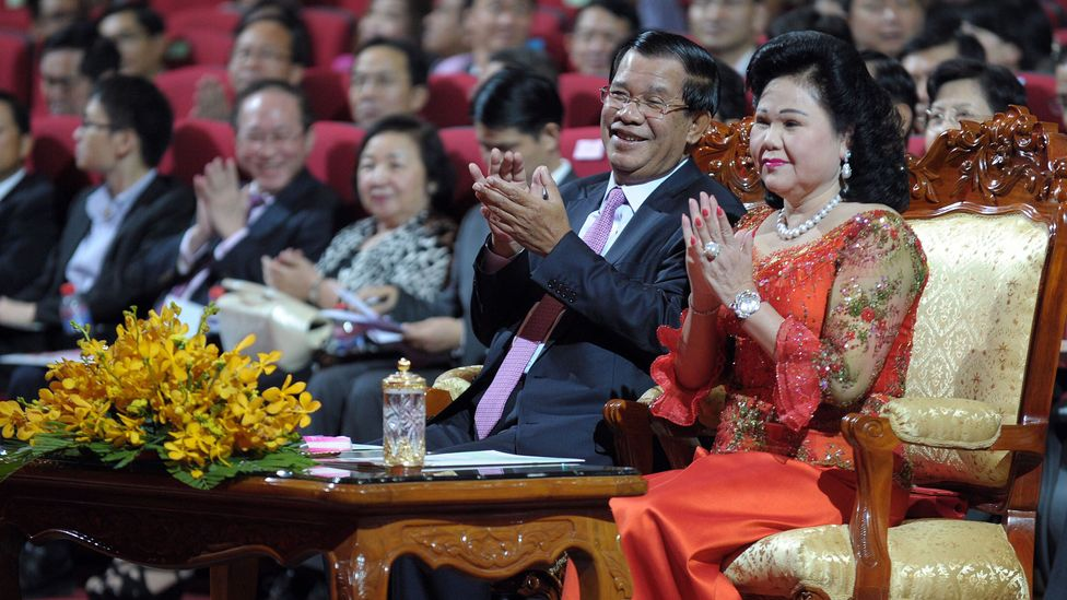 Cambodia's leader, Hun Sen and his wife (Credit: Getty Images)