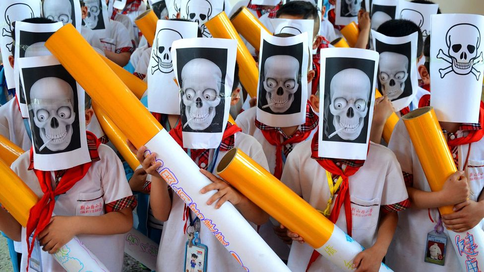 Students in Zibo City in Shandong Province in China mark World No Tobacco Day on 30 May (Credit: VCG via Getty Images)