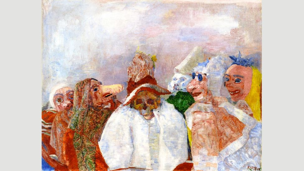 The Anglo-Belgian artist James Ensor painted his macabre critique of late-19th-Century society, Masks Mocking Death, in 1888 (Credit: James Ensor)