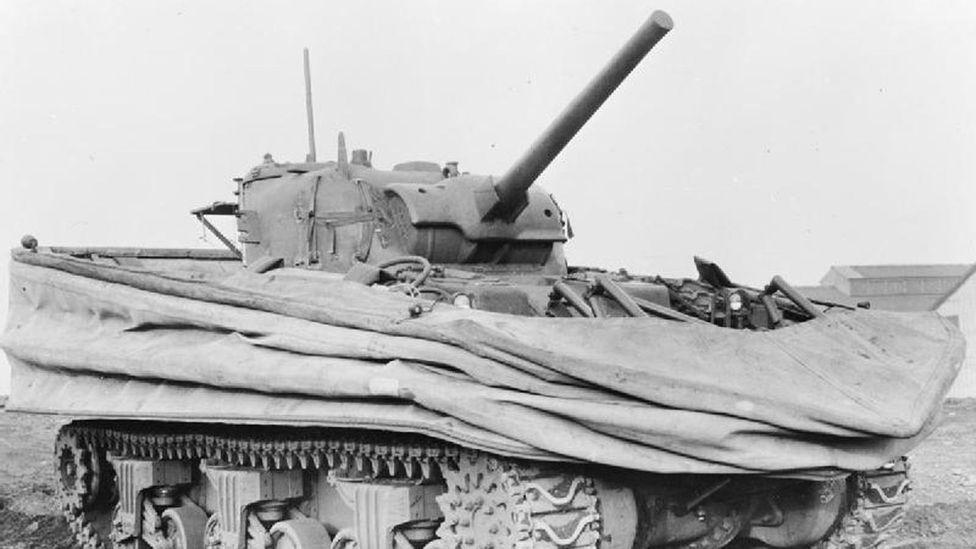 A Sherman DD swimming tank, seen with its canvas screens collapsed (Credit: Crown Copyright/Wikipedia)