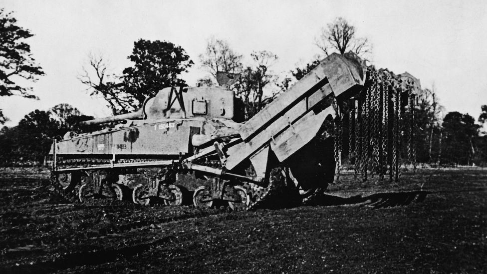 The Sherman flail tank was vital in clearing paths through minefields and barbed wire (Credit: Getty Images)