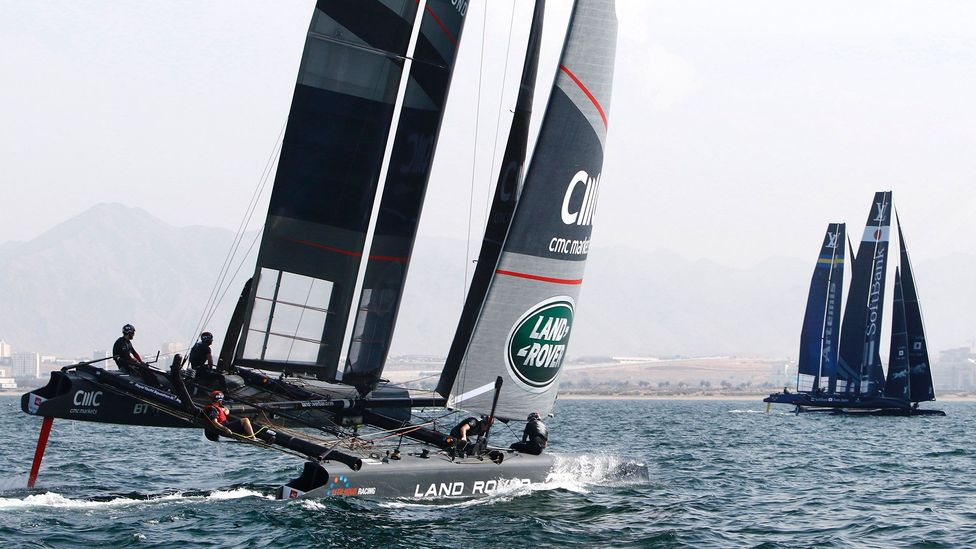 Ben Ainslie's Land Rover BAR team in action off the coast of Oman (Credit: Getty Images)