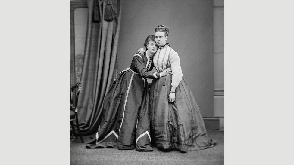 This photograph of female impersonators Park and Boulton was taken less than a year before their arrest (Credit: Fred Spalding, c1870/Wikipedia)