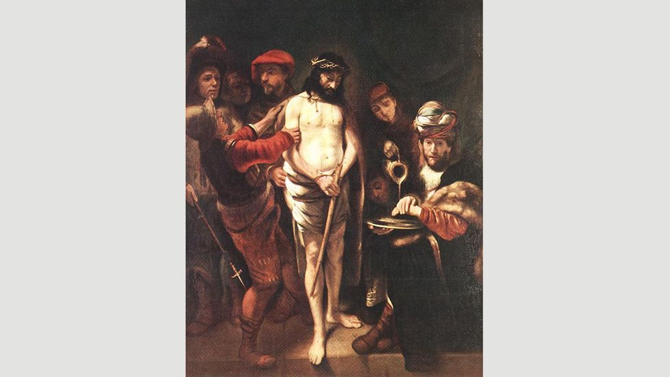 Christ before Pilate (1649-50) by the Dutch painter Nicolaes Maes shows a scene of violent disrobement (Credit: Wikimedia)