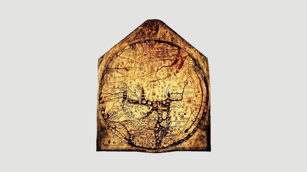 The Hereford Mappa Mundi from 1300 (Credit: Wikipedia)